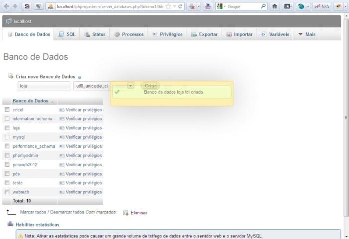 Criando o banco de dados XAMPP
