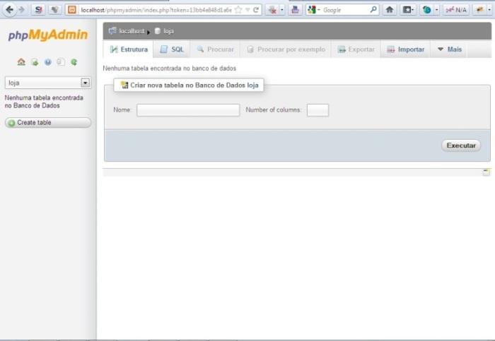 Criação de banco de dados XAMPP