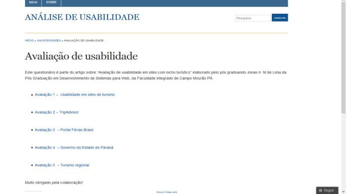 Figura 1 – Home do blog http://goo.gl/zn48C8 utilizado-+ para aplicação dos questionários web.